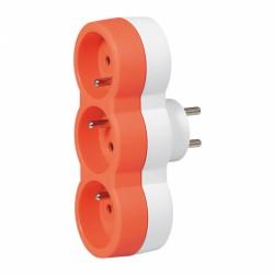 Fiche multiprise avec terre - 3 sorties frontales - Orange - LEGRAND - Multiprises et blocs parafoudre - BR-131591