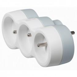 Fiche multiprise avec terre - plastique - 3 sorties frontales - Blanc - LEGRAND - Multiprises et blocs parafoudre - BR-113097