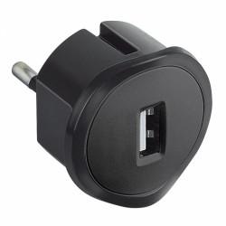 Fiche sans terre chargeur USB - 10 A - chargeur USB 5 V - 1,5 A maxi - Noir - LEGRAND - Prises / Fiches / Adaptateurs - BR-10...