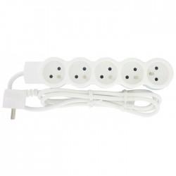 Rallonge 5 prises de courant - avec cordon 1,5 m - Blanc - LEGRAND - Multiprises et blocs parafoudre - BR-490123
