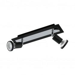 Réglette 2 Spots LED - Acier chromé noir - 300 x 70 x 120 mm - Sarria - EGLO - Pour l'intérieur - BR-536778