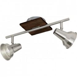 Réglette 2 spots LED - Acier nickel mat et bois - 360 x 120 mm - Filipina - EGLO - Pour l'intérieur - BR-536780