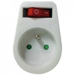 Fiche avec interrupteur - 2P + T - Blanc - DHOME - Prises / Fiches / Adaptateurs - BR-243079