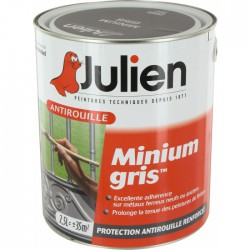 Primaire antirouille - Minium Gris - Protection anti-corrosion durable - 2.5 L - JULIEN - Antirouille - BR-113654