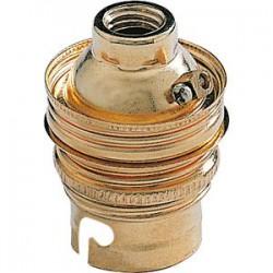 Douille B22 en acier laitonné sans passage de fil avec borne terre - Raccord ⌀ 10 mm - L'EBENOàD - Douille pour ampoule B22 ...