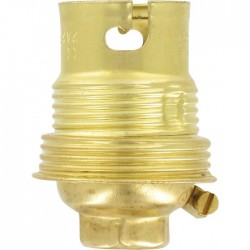 Douille B22 en acier laitonné avec passage de fil avec borne terre - Raccord ⌀ 10 mm - Simple bague - L'EBENOàD - Douille po...