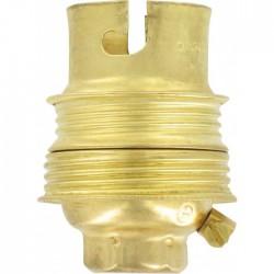 Douille B22 en acier laitonné avec passage de fil avec borne terre - Raccord ⌀ 10 mm - Double bague - L'EBENOàD - Douille po...