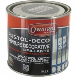 Peinture décorative brillante - Antirouille et finition - Gris - 500 ml - OWATROL - Antirouille - BR-065025