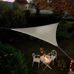 Voile d'ombrage triangulaire - Bordures en Leds solaires - Taupe - MOREL - Voile d'ombrage - BR-960334