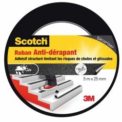 Ruban anti-dérapant pour escalier - 5 M x 25 mm - Scotch - Ruban adhésif fixateur - BR-469563