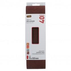 Bande abrasive sans fin - 75 x 533 mm - Grain 40 - SCID - Bande et patin abrasif - BR-044670
