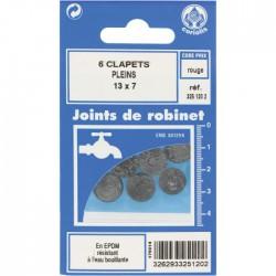 Joint Clapet plein Robinet - 13 x 7 mm - Lot de 6 - GRIPP - Joint clapet plein - BR-547433