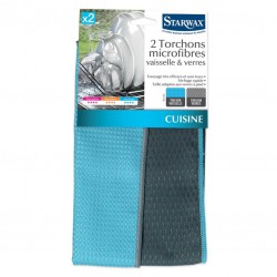 2 Torchons microfibres vaisselle & verres - STARWAX - Chiffon de nettoyage - 1337