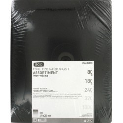 Assortiment de papier abrasif imperméable - 230 x 280 mm - Grain 80, 180, 240, 320, 1000 - Lot de 10 - SCID - Bande et patin ...