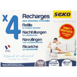 4 sachets de recharge pour absorbeur d'humidité - Parfum neutre - SEKO - Humidité / moisissures - BR-202941