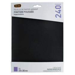 Papier abrasif imperméable - 230 x 280 mm - Grain 1000 - Lot de 4 - SCID - Bande et patin abrasif - BR-044695