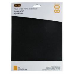 Papier abrasif imperméable - 230 x 280 mm - Grain 80 - Lot de 4 - SCID - Bande et patin abrasif - BR-044691
