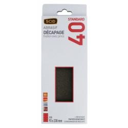 Patin abrasif avec fixation pince 93 x 230 mm - 8 trous - Grain 40 - SCID - Bande et patin abrasif - BR-044560