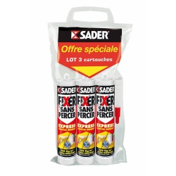 Colle de fixation rapide et résistante - Fixer sans percer Express - Lot de 3 cartouches de 310 ml - SADER - Colle - AT246994