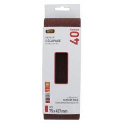Bande sans fin abrasive - 75 x 457 mm - Grain 40 - Lot de 3 - SCID - Bande et patin abrasif - BR-044659