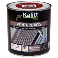 Peinture bois - Microporeuse - Satin - Rouge basque - 0.5 L - KALITT - Peintures - DE-391912