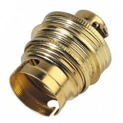 Douille B22 en laiton Double bague + passage fil - ⌀ 11 mm - EBENOID - Douille pour ampoule B22 - BR-372455