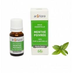 Huile essentielle BIO de Menthe poivrée 100% pure et naturelle -10 ml - AROFLORA - Huiles essentiellles - DE-198359
