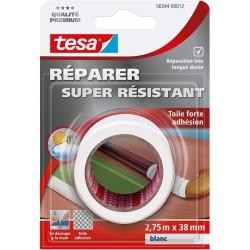 Toile adhésive super résistante - Blanc - 2.75 M x 38 mm - TESA - Ruban adhésif réparation - DE-668004