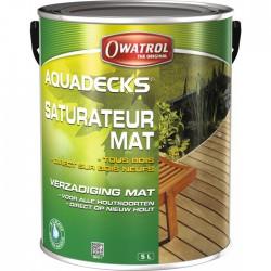 Saturateur bois en phase aqueuse - AQUADECKS - Gris vieux bois - 5 L - OWATROL - Lasures et Vernis - BR-415507