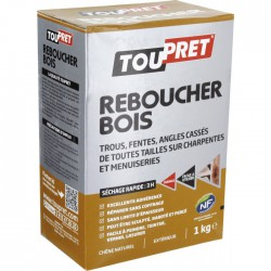 Enduit de rebouchage - Reboucher Bois Poudre - Trous et fentes - 1 Kg - TOUPRET - Réparation et rénovation du bois - BR-565429