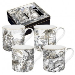 Coffret de 4 mugs - Rétro jungle - EASY LIFE - Tasse / Mug - DE-534249