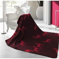 Plaid - Motifs Cerfs - Rouge / Bordeaux - 150 x 200 cm - BIEDERLACK - Plaids / Couvertures - DE-215781