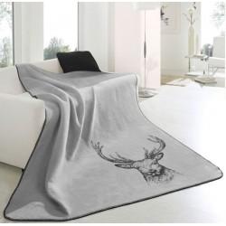 Plaid - Tête de Cerf - Gris - 150 x 200 cm - BIEDERLACK - Plaids / Couvertures - DE-215807