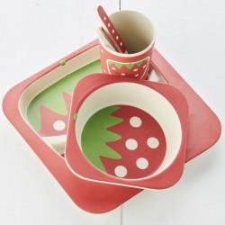 Set vaisselle pour bébé - Bambou - Décor Fraise - POINT VIRGULE - Enfants / Protection enfants - DE-335134
