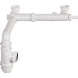 Tubulure 2 cuves décalées - Réglable - 40 mm - Prises mixtes - VALENTIN - Siphons pour évier de cuisine - SI-158900