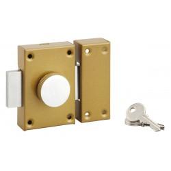 Verrou de sureté à bouton et cylindre - 40 mm - PVM - Verrous - BR-480909