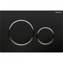 Plaque de déclenchement - Double débit - Sigma 20 - Chromé noir - GEBERIT - Commande WC / Boutons poussoir - SI-488275