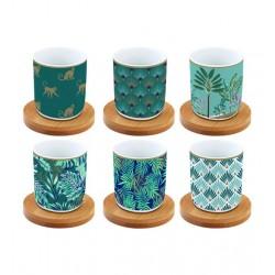 Coffret de 6 tasses àcafé - Coffee Mania - Jungle - Porcelaine - EASY LIFE - Tasse / Mug - DE-508706