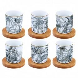 Coffret de 6 tasses àcafé - Coffee Mania - Retro Jungle - Porcelaine - EASY LIFE - Tasse / Mug - DE-534455