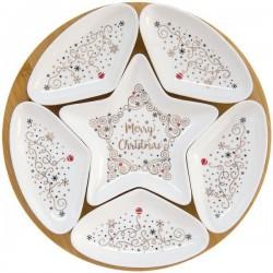 Coupelles apéritif et plateau - Porcelaine / Bambou - Merry Christmas - EASY LIFE - Assiette / plat / plateau / coupelle - DE...