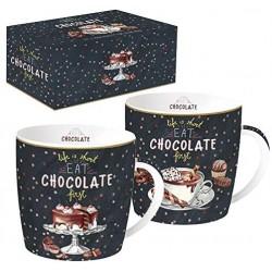 Mug x 2 - Chocolate - Porcelaine - EASY LIFE - Tasse / Mug - DE-556176