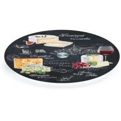 Plateau à fromages tournant - Verre Noir - 32 cm - EASY LIFE - Assiette / plat / plateau / coupelle - DE-506346