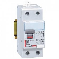 Interrupteur différentiel bipolaire - Type A 30 mA arrivée haut/départ bas 63 A - Sans peigne - LEGRAND - Interrupteur différ...