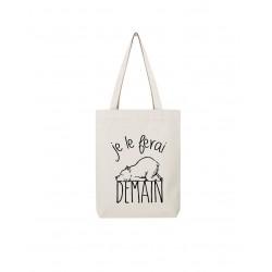 Tote bag - Je le ferai demain - Ours - LE FABULEUX SHAMAN - Poussette de marché / Cabas / Panier - DE-399626