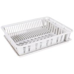 Egouttoir à vaisselle et plateau - Grand modèle - Blanc - EDA - Rangement et nettoyage - DE-199091