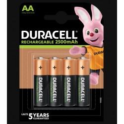 Piles rechargeables - LR06 - AA - 2500 mAh- Lot de 4 - DURACELL - Pile rechargeable - SI-534851