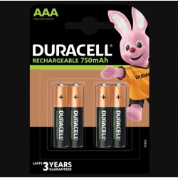 Piles rechargeables - LR03 - AAA - 750 mAh- Lot de 4 - DURACELL - Pile rechargeable - SI-534855