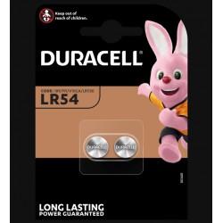 Piles boutons alcalines- LR54 - 1.5 Volts - Lot de 2 - DURACELL - Pile miniature / plate - SI-534881