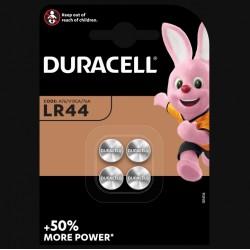Piles boutons alcalines- LR44 - 1.5 Volts - Lot de 4 - DURACELL - Pile miniature / plate - SI-534880