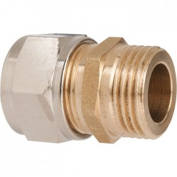 Raccord droit à serrage - Mâle - Laiton - 12 x 17 mm - 10 mm - Raccords sans soudure - SI-385410